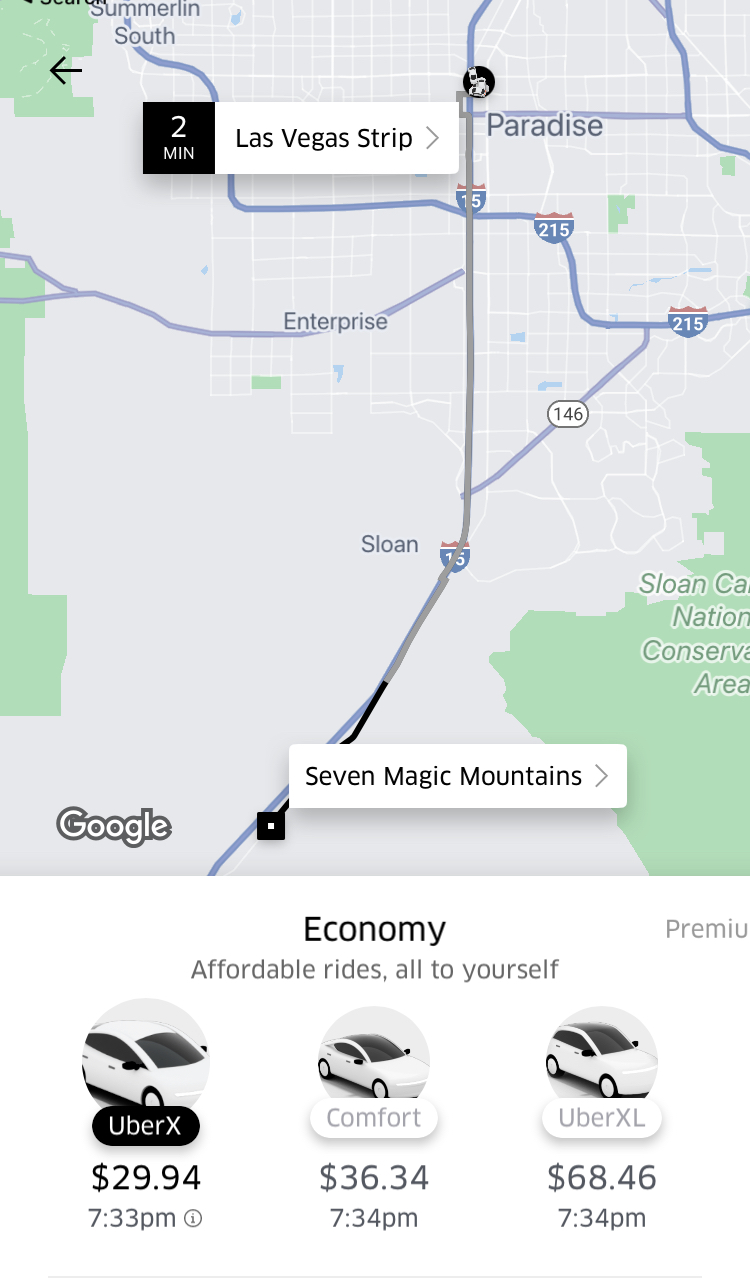 UBER from the Strip to Seven Magic Mountains