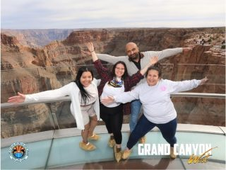 They don't allow cameras or phones on the Grand Canyon Skywalk. Fortunately, they have a talented professional photographer on hand to help travelers get memorable pictures! This is from a recent Grand Canyon West, Hoover Dam, Seven Magic Mountains Day Tour. When these 4 people stepped in our tour van, they were strangers. 7 hours later they were making memories to last a lifetime at the Grand Canyon! Come see the Skywalk and make friends along the way on one of our small group tours departing daily from Las Vegas.   . . . . . #grandcanyon #maxtourvegas #grandcanyonwest #grandcanyonwestrim #grandcanyonskywalk #grandcanyonskywalkarizona #travelfun #traveltheworld #visitarizona #traveladdict #travelarizona #arizona🌵